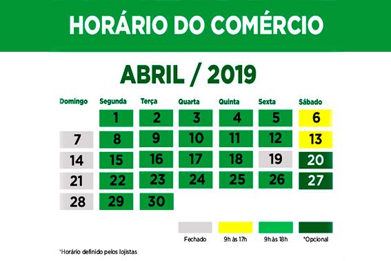 Horário do Comércio para o mês de Abril