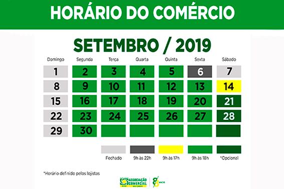 Horário do comércio para o mês de setembro segundo a convenção coletiva realizada pelos sindicatos da categoria.